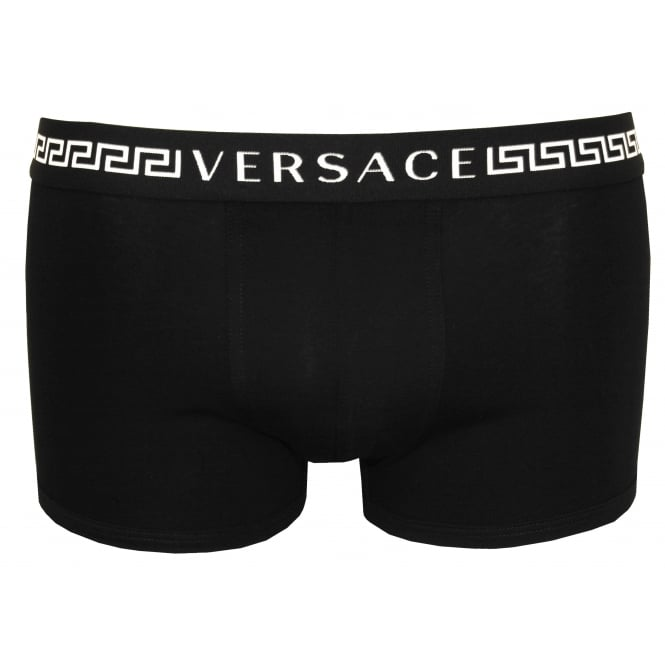 Versace Greca Signature Low-Rise Boxer Trunk, Black