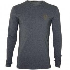 30a7eca4b6b5b3 Iconic Crew-Neck Long-Sleeve T-Shirt, Grey Melange. Versace ...