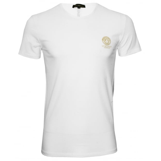 Versace Iconic Crew-Neck Stretch Cotton T-Shirt, White