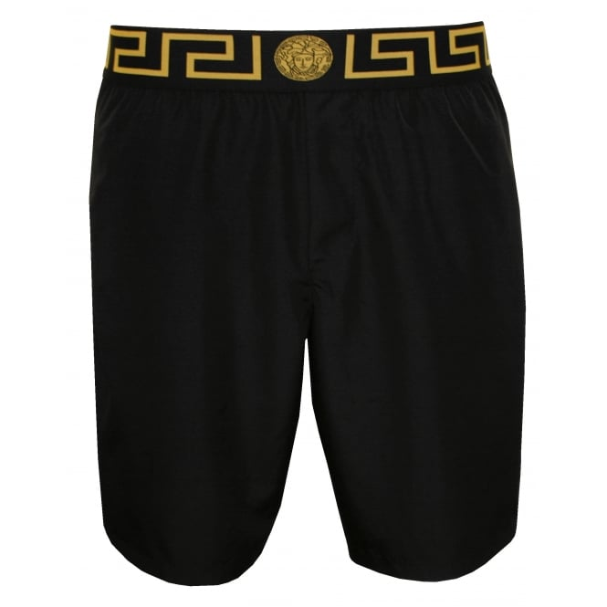 Versace Iconic Gold Detailing Luxe Longer-length Swim Shorts, Black