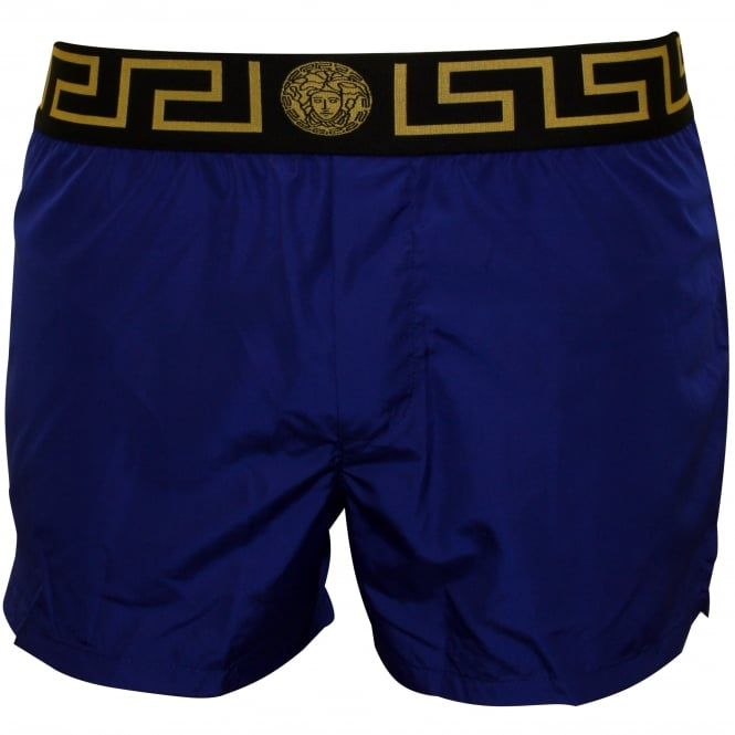 Versace Iconic Luxe Swim Shorts, Bluette with black/gold