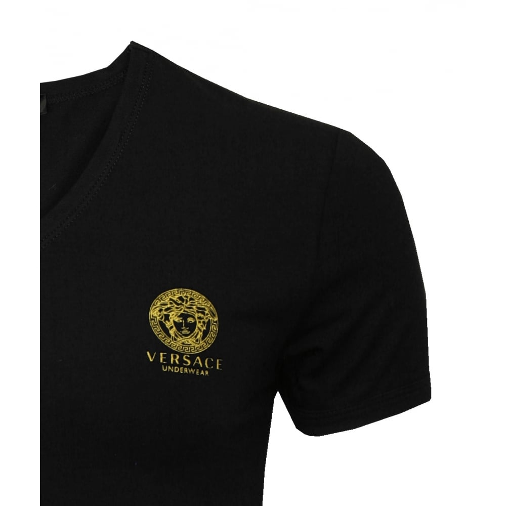 Black t shirts v neck - Iconic V Neck Stretch Cotton T Shirt Black