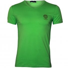 5948339c74f6f5 Iconic V-Neck Stretch Cotton T-Shirt, Fluo Green · Versace ...