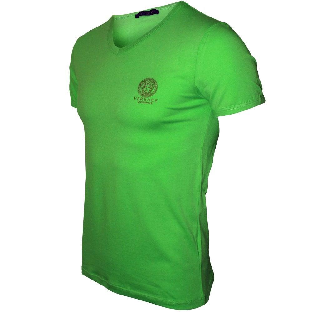 large choix de couleurs et de dessins aliexpress mode attrayante Iconic V-Neck Stretch Cotton T-Shirt, Fluo Green