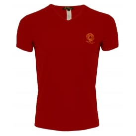 Iconic V-Neck Stretch Cotton T-Shirt, Regal Red