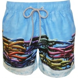 Water Slides Photographic Print Swim Shorts, Blue