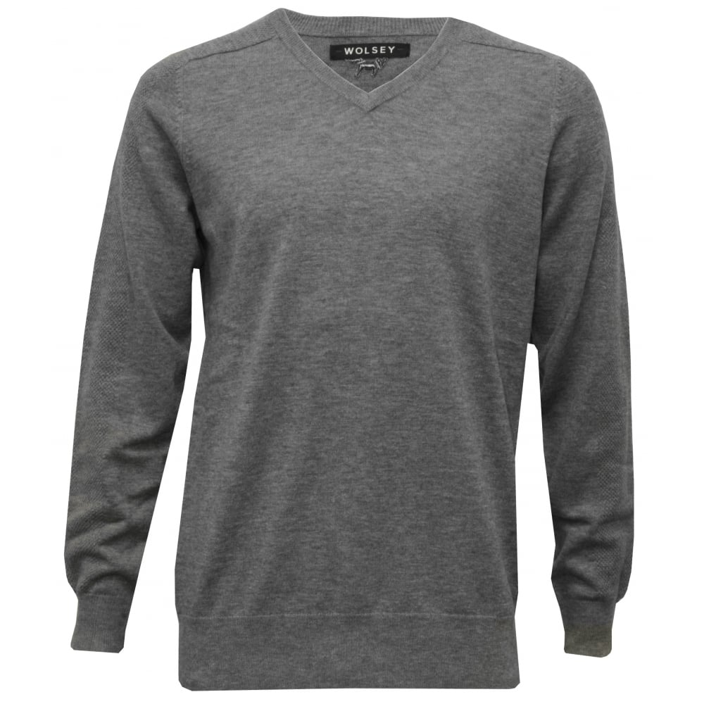 Wolsey 100% Extra Fine Merino Wool V Neck Sweater, Grey Melange