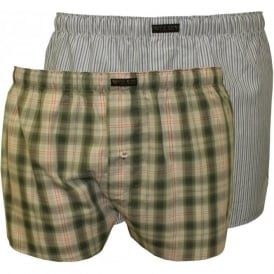 2-Pack Button-Fly Boxer Shorts, Army Green