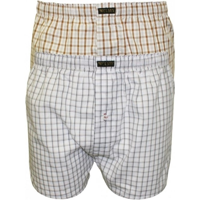 Wolsey 2-Pack Button-Fly Boxer Shorts, Grey Assortment