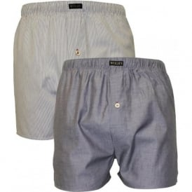 2-Pack Button Fly Boxer Shorts, Grey/Cream Stripe