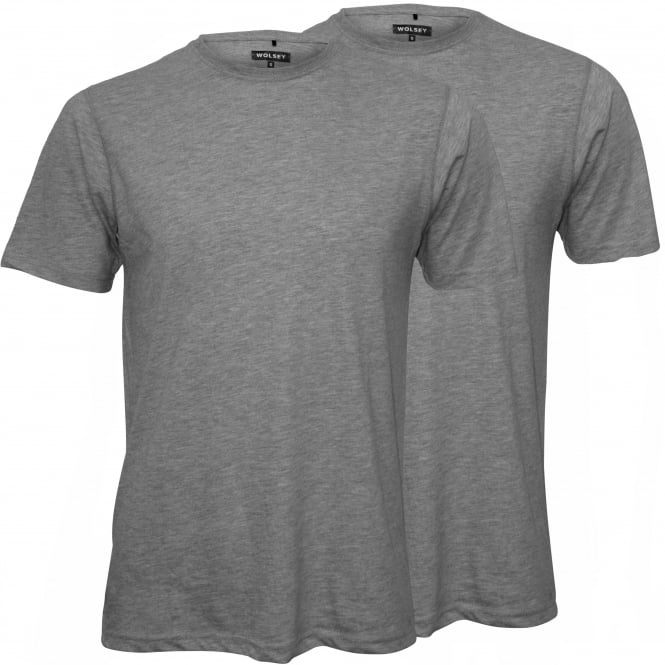 Wolsey 2-Pack Crew-Neck Jersey T-Shirts, Grey Marl