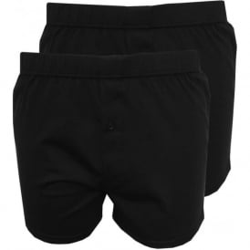2-Pack Jersey Cotton Boxer Shorts, Black