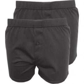 2-Pack Jersey Cotton Boxer Shorts, Dark Grey