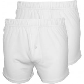 2-Pack Jersey Cotton Boxer Shorts, White
