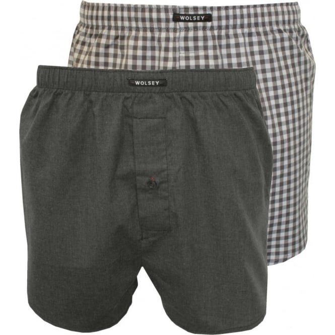 Wolsey 2-Pack Woven Check & Plain Boxer Shorts, Grey