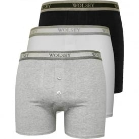 3-Pack Button Fly Boxer Trunks, White/Grey/Black