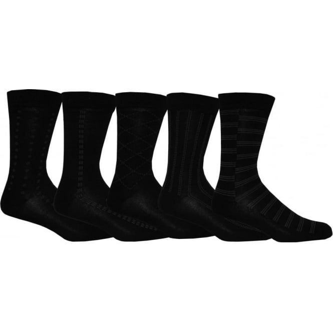 Wolsey 5-Pack Patterned Cotton Socks, Black
