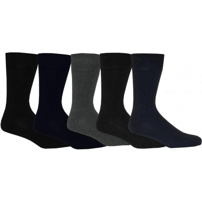 Wolsey 5-Pack Ribbed Cotton Socks, Urban colours