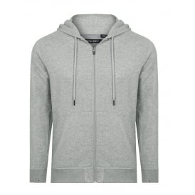 Brushed Cotton Jersey Zip-Thru Hoodie, Grey Marl