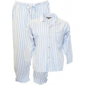 Brushed Cotton Striped Pyjama Set, Blue
