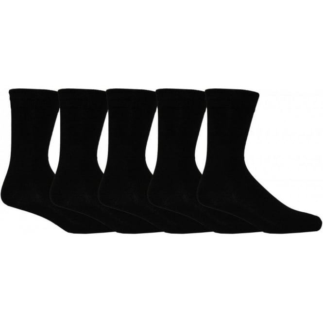 Wolsey Classic 5-Pack Cotton Flat-Knit Socks, Black