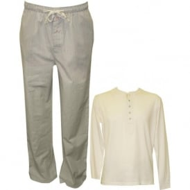 Cotton Long-Sleeve Henley T-Shirt & Woven Trouser Set, Cream