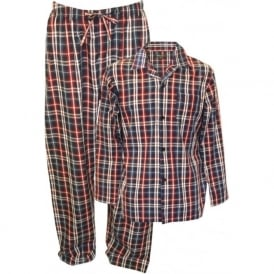Finest Cotton Poplin Checked Pyjama Set, Navy/Red