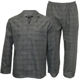 Long-Sleeve Check Pyjama Set, Granite Grey