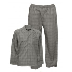 Long-Sleeve Woven Check Pyjama Set, Granite Grey