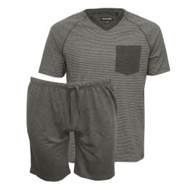 Short-Sleeve Jersey Stripe T-Shirt & Shorts Pyjama Set, Granite Grey