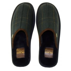 Youngi Slip-on Slippers, Dark Blue/Green Check